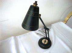 We have a sweet vintage black and gold tole ware desk lamp. Desk Lamp, Vintage Black, Black Gold, Lamps, Home Appliances, Etsy, Lightbulbs, House Appliances, Appliances