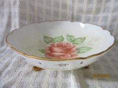 Bowl Ruffled footed Porcelain Pink Rose by PorcelainChinaArt