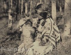 vintage native american photography | 1900/72 Vintage Native American Indian Mother & Child Photo Art ...