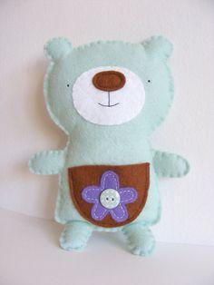 PDF pattern - Cute felt bear with pocket. DIY tooth fairy plush, handmade felt softie, gift for kids