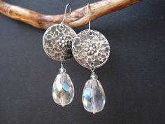 Handmade Silver Metalwork Earrings-Swarovski by AnnaRecycle