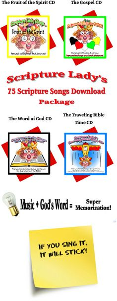 Scripture Lady's 75 Scripture Song Downloads  Music makes Bible Memorization Fun and Easy!  Only $9.97