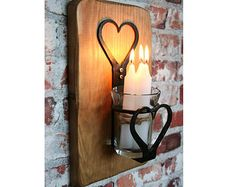 SCONCE CANDLE LANTERN - Wrought Iron Heart Design Candle / Tea Light Holder - Glass Cup - Rustic Wood Wall Mount - Antique Pine - Brand New Candle Lanterns, Candle Sconces, Wall Sconces, Candles, Wedding Gift Inspiration, Tea Lights, Wall Lights, Rustic Wood Walls, Rustic Lighting