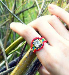"""If you like friendship bracelet patterns, then you'll love this Rhinestone Friendship Ring! This tutorial takes traditional friendship bracelet designs and turns them into fun, """"blinged out"""" friendship rings."""