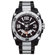 Jorg Gray Solid Stainless Steel Bracelet Black Dial Men's watch #JG9800-23. Band Width (mm.):22. Band Width Between Lugs (mm.):24. Band Length (in.):9. Water Resistance:100M. Movement Caliber:Ronda.