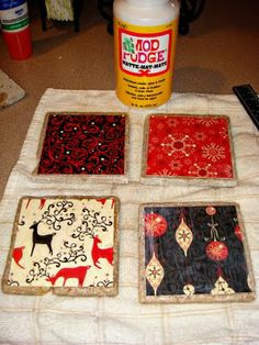 Christmas coasters. Save your Christmas cards, look for the homemade version of Mod Podge on Pinterest, and this becomes a fairly cheap project, right?