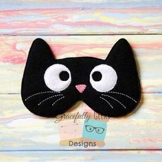 Kitty Sleep Mask Embroidery Design - 5x7 Hoop or Larger