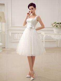 Square Neck Applique Satin Short Wedding Dress with Beading Bow Sash - Milanoo.com