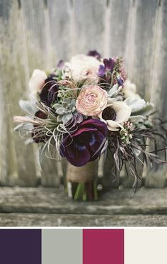 Love the muted colors with the blackberry purple. Source: 100 layer cake #bouquet #purple #colorpalette