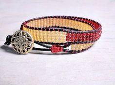 Leather Woven Wrap Bracelet Seed Beads Red by BeadWorkBySmileyKit Bead Loom Bracelets, Beaded Wrap Bracelets, Beaded Jewelry, Bohemian Style Jewelry, Woven Wrap, Leather Weaving, Silver Charm Bracelet, Loom Beading, Seed Beads