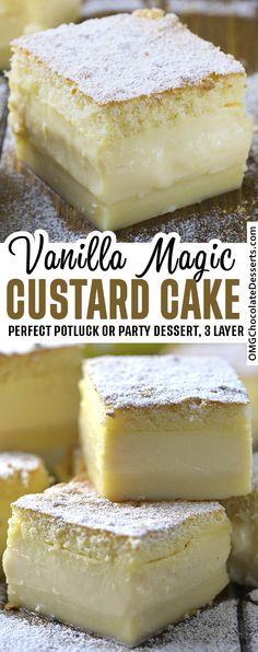 Mini Desserts, Easy No Bake Desserts, Strawberry Desserts, Delicious Desserts, Vanilla Magic Custard Cake, Custard Desserts, Vanilla Desserts, Vanilla Cake, Flan