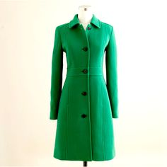 Emerald green coat. J Crew  | More luscious greens here: http://mylusciouslife.com/photo-galleries/a-colourful-life-colours-patterns-and-textiles/