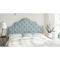 Shop for Safavieh Arebelle Sky Blue Upholstered Tufted Headboard - Silver Nailhead (Queen). Get free delivery On EVERYTHING* Overstock - Your Online Furniture Shop! Get in rewards with Club O! Tufted Headboard Queen, Full Headboard, Wingback Headboard, Panel Headboard, Grey Headboard, Tufted Headboards, Door Headboards, Bookcase Headboard, Headboard Ideas