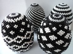 Handmade Beaded Easter Egg Black & White Open by TheBeadedEgg