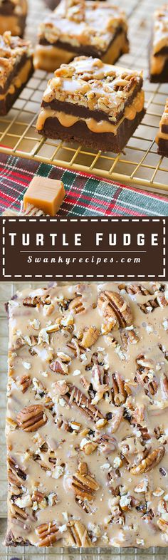 Turtle Fudge Salted caramel sauce stuffed between two layers of rich chocolate fudge. Garnished with pecans and drizzled with caramel sauce and sea salt.