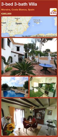 3-bed 3-bath Villa in Moraira, Costa Blanca, Spain ►€265,000 #PropertyForSaleInSpain