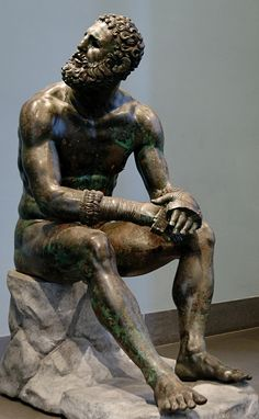 """Thermae boxer"": athlete resting after a boxing match. Bronze, Greek, Hellenistic era, 3rd-2nd centuries BC"