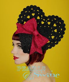 """Giant Glitter and Bow Hat """"Valentina"""""""