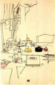 Desktop in the prisoner of war camp in Mühling, 1916,  Egon Schiele