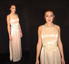 Classy Vtg Shimmering Beige Satin & Illusion Lace Bridal Dress w/ Train S #Unbranded
