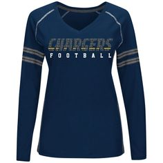 San Diego Chargers Majestic Women's Deep Fade Route Long Sleeve T-Shirt – Navy Blue