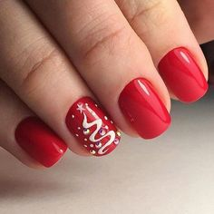Best 60 Art Ideas for Nails Color in 2019 - Hairstyles Xmas Nails, New Year's Nails, Red Nails, Christmas Nails, Hair And Nails, Short Nail Manicure, Manicure And Pedicure, Manicure Ideas, Short Nails