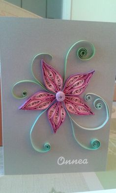 Quilled pink flower by quilling