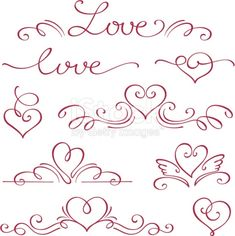 View top quality illustrations of Love And Hearts In A Calligraphy Style In Red Ink. Calligraphy Heart, Calligraphy Alphabet, Hand Lettering Fonts, Small Love Tattoos, Heart Tattoo Designs, Love Symbols, Bullet Journal Inspiration, Free Vector Art, Doodle Art