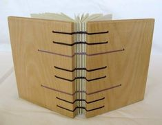Coptic stitch journal with wooden covers handmade book - bookbinding