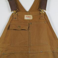 Vtg 60s Carhartt Headlight Finck Union Made Brace Bib Overalls Brown Duck 40x28 #CarharttHeadlightFinck