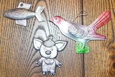 Christmas Russian Tree Ornaments Bird Fish Pig cardboard silver foil vintage set