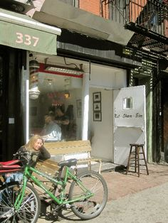 Shopfront Bench and Stool in front of Blind Barber - 339 E 10th St, New York, NY - Photo: Sarah Christensen