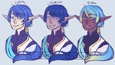 """sweet-gardienne:  """" So… there's a discourse about race-changing the Eld boys and that reminded me that vampires and elves have different representations depending on the legend and I decided to do exactly that, show Ezarel and Nevra with colors..."""