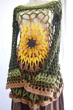 Sunflower Flower Child Pullover / Crochet Mesh Lace Hippie Top / Retro Psychedelic Bell Sleeve Sweater Dress by MoraleFiber on Etsy https://www.etsy.com/listing/518565163/sunflower-flower-child-pullover-crochet