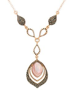 Genevieve & Grace 18k Rose Gold Over Sterling Silver Necklace, Pink Shell and Marcasite Teardrop Y Necklace