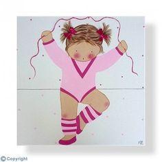 Cuadro infantil personalizado con el nombre. Lienzo niña bailarina con maillot rosa. Un regalo para bebés, niños y niñas, de decoración infantil, artesanal y hecho a mano.