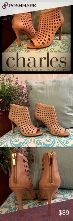 🌼LIKE NEW! Infusion Caged Leather Bootie VERY RARE! Sold out everywhere!!! Only worn out ONE TIME! (only visible wear is on the soles) -- These are fabulous, elegant, and very chic laser cut peep-toe heeled ankle booties in a gorgeous nude colored leather. Charles David Shoes Ankle Boots & Booties