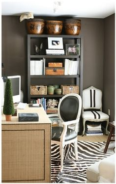 Dark brown walls.   ARTICLE + GALLERY: How to Go Gray When Your Whole House Is Beige