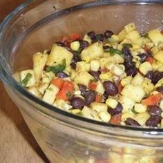 This refreshing and colorful bean salad is loaded with mango, black beans, corn, and red pepper.