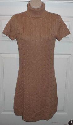 NEW Moda International Victoria s Secret Camel Cable Turtleneck Sweater Dress S