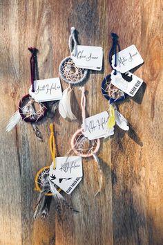 Dreamcatcher escort cards | Bohemian Wedding Inspiration | Bridal Musings Wedding Blog