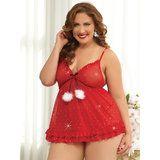 Seven Til Midnight Plus Size Sugar 'n' Spice Sexy Christmas Babydoll Set