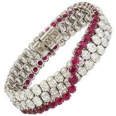 Natural No Heat Burmese Ruby and Diamond Bracelet 1
