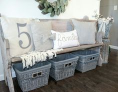 Farmhouse Entry. Antique church pew. Bench by @blessed_ranch