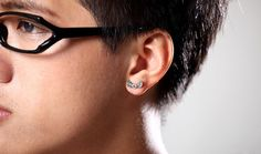 Men's Vintage Thai Silver Heart-shaped Wings Stud Earrings,FREE SHIPPING,looback,looback.com.$19.99