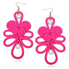 Fuchsia Polymer Clay Chinese Knot Earrings