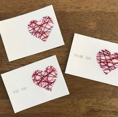 Make String Heart Yarn Cards. These make pretty handmade Valentine cards and are a great threading sewing activity for kids! Wouldn't they also make cute Mother's Day cards? Diy And Crafts, Crafts For Kids, Paper Crafts, Craft Gifts, Diy Gifts, Mother's Day Gift Baskets, Paper Embroidery, Mothers Day Crafts, Valentines For Kids