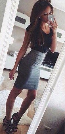Grey pencil skirt - black tee - black heels