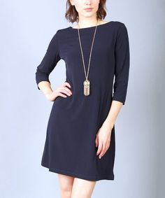 Another great find on #zulily! Navy Boatneck Shift Dress - Women by Lbisse #zulilyfinds