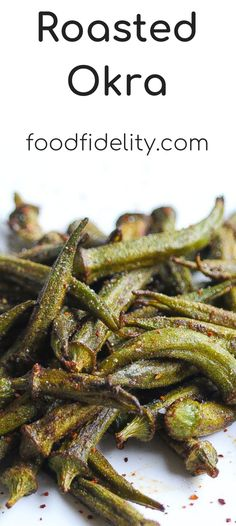 Crispy roasted okra is one of my new favorite veggies. Its a no-fuss, delicious side that is ready in less than 30 minutes. Okra Recipes, Vegetable Recipes, Vegetarian Recipes, Snack Recipes, Cooking Recipes, Vegetarian Barbecue, Barbecue Recipes, Vegetarian Cooking, Veggie Food
